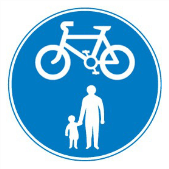 Shared with cycling route with pedestrians